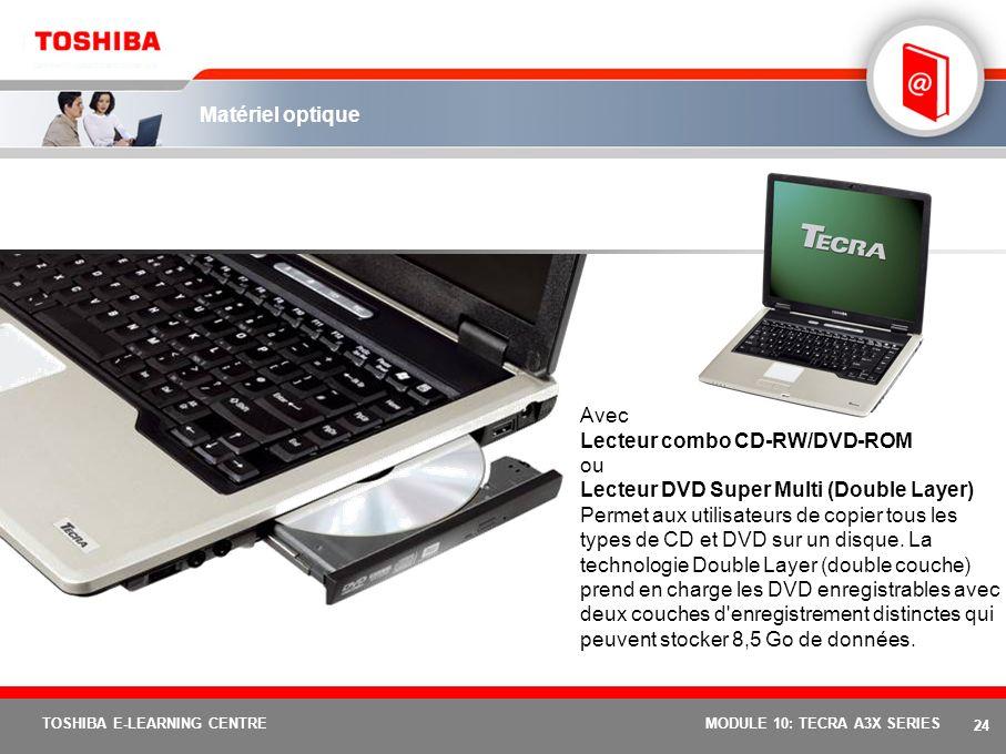 23 TOSHIBA E-LEARNING CENTREMODULE 10: TECRA A3X SERIES Expérience multimédia optimisée XGA ou SXGA+ 15