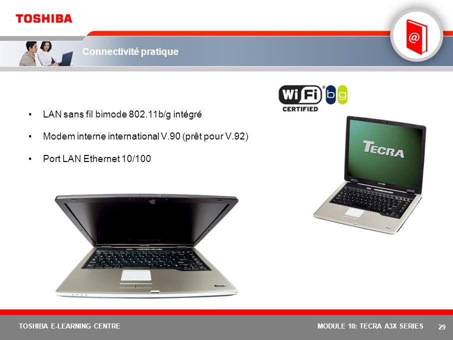 28 TOSHIBA E-LEARNING CENTREMODULE 10: TECRA A3X SERIES Extension et connectivité simplifiées 3 Ports USB 2.0 Emplacement PC Card pour 1 carte Type II