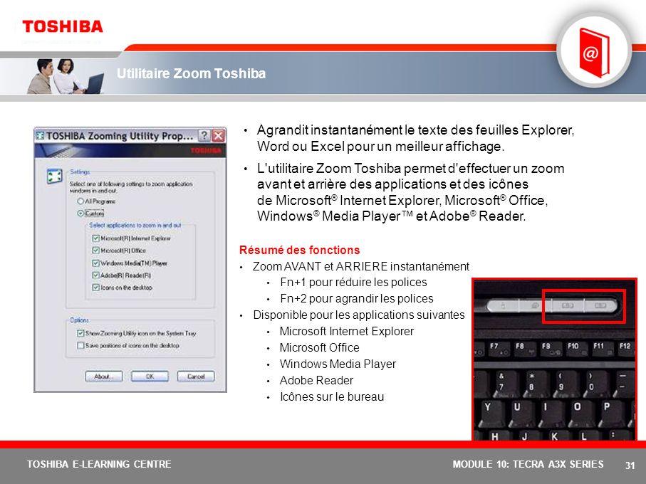 30 TOSHIBA E-LEARNING CENTREMODULE 10: TECRA A3X SERIES Utilitaire Toshiba Power Saver Cet indicateur montre les performances standard de votre PC, l'