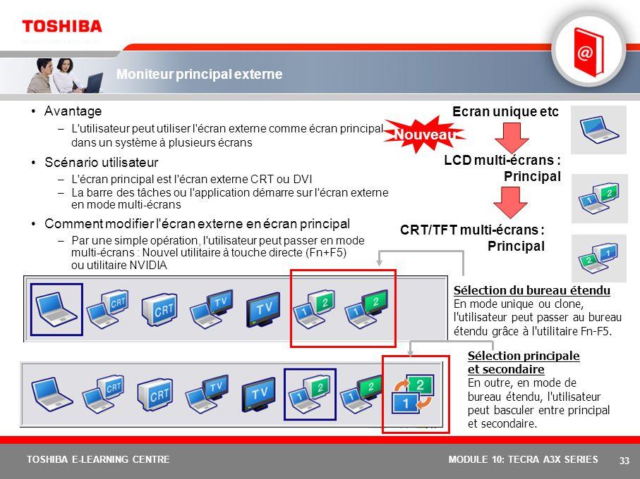 32 TOSHIBA E-LEARNING CENTREMODULE 10: TECRA A3X SERIES Bouton de présentation Toshiba Présentations facilitées Touch'and'Present Idéal pour les utili