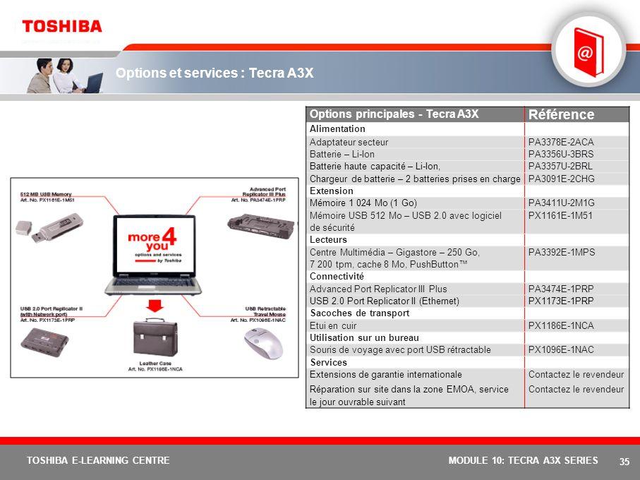 34 TOSHIBA E-LEARNING CENTREMODULE 10: TECRA A3X SERIES Spécifications de base : Tecra A3X ModèleTecra A3X-119Tecra A3X-102Tecra A3X-112 Fonction de p