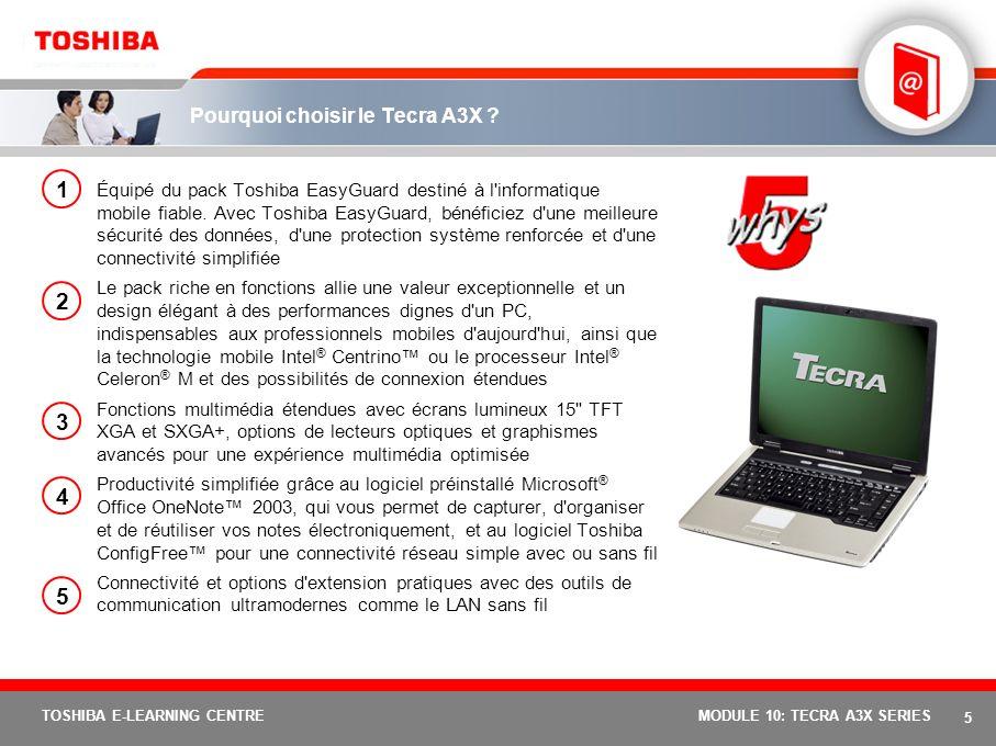 4 TOSHIBA E-LEARNING CENTREMODULE 10: TECRA A3X SERIES Positionnement Tecra A3X : Découvrez la mobilité à un prix abordable. Le Tecra A3X offre un mei