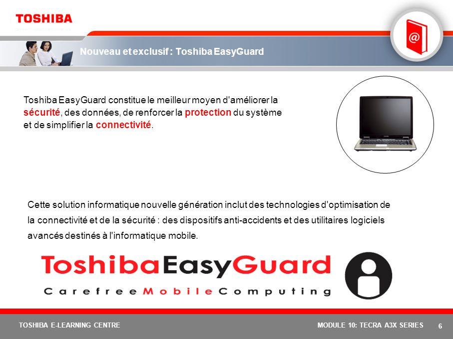 5 TOSHIBA E-LEARNING CENTREMODULE 10: TECRA A3X SERIES Équipé du pack Toshiba EasyGuard destiné à l'informatique mobile fiable. Avec Toshiba EasyGuard