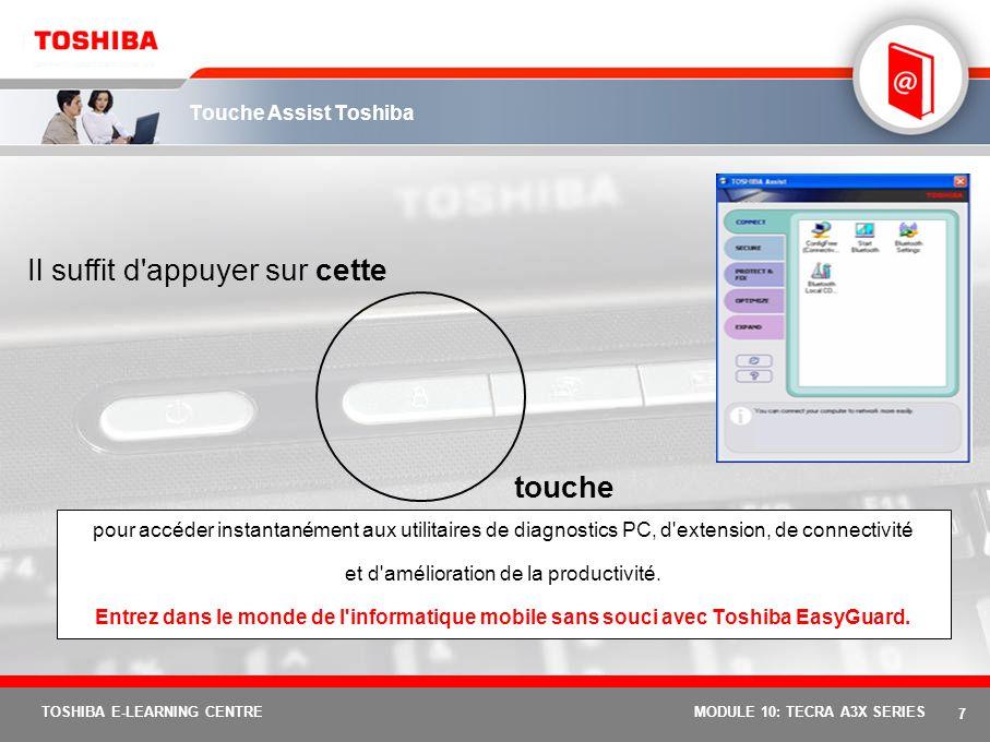 6 TOSHIBA E-LEARNING CENTREMODULE 10: TECRA A3X SERIES Nouveau et exclusif : Toshiba EasyGuard Toshiba EasyGuard constitue le meilleur moyen d'amélior