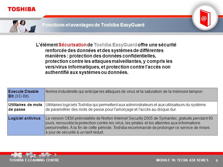 8 TOSHIBA E-LEARNING CENTREMODULE 10: TECRA A3X SERIES Trois éléments fondamentaux pour une informatique mobile en toute tranquillité Afin de répondre