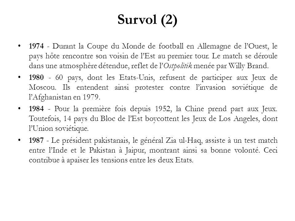 Survol (2) 1974 - Durant la Coupe du Monde de football en Allemagne de lOuest, le pays hôte rencontre son voisin de lEst au premier tour. Le match se