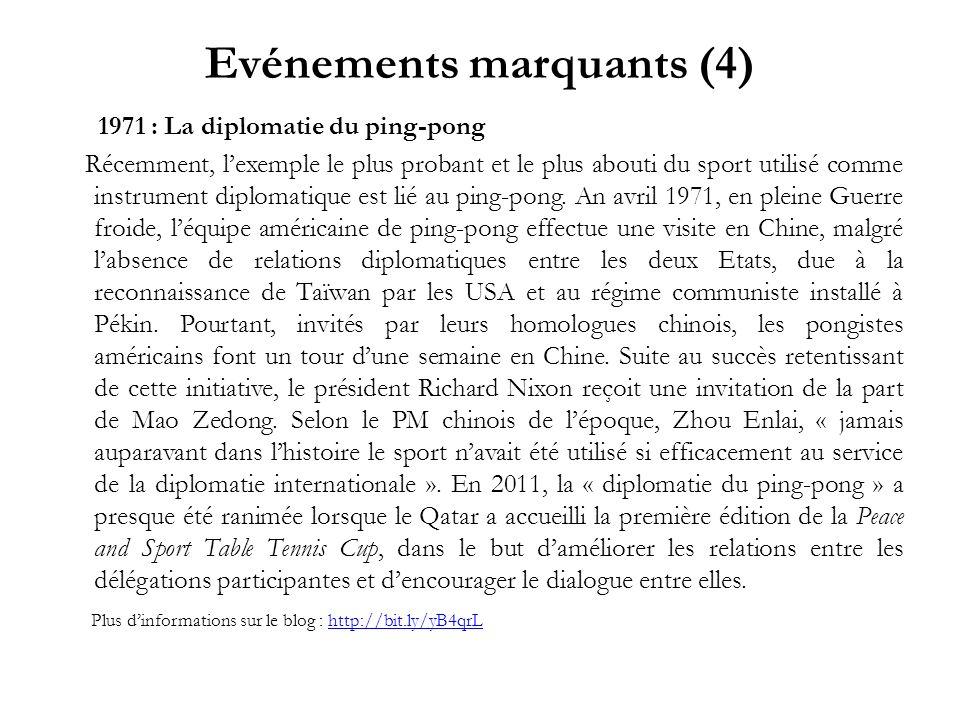 Evénements marquants (4) 1971 : La diplomatie du ping-pong Récemment, lexemple le plus probant et le plus abouti du sport utilisé comme instrument dip