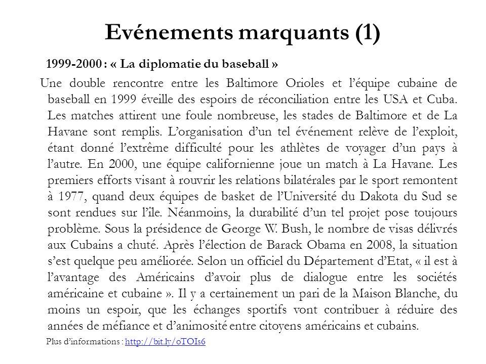 Evénements marquants (1) 1999-2000 : « La diplomatie du baseball » Une double rencontre entre les Baltimore Orioles et léquipe cubaine de baseball en