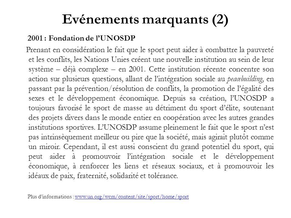Evénements marquants (2) 2001 : Fondation de lUNOSDP Prenant en considération le fait que le sport peut aider à combattre la pauvreté et les conflits,