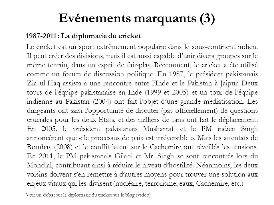 Evénements marquants (3) 1987-2011 : La diplomatie du cricket Le cricket est un sport extrêmement populaire dans le sous-continent indien. Il peut cré