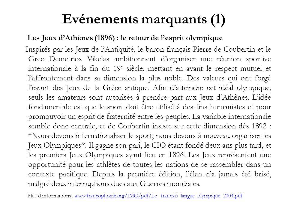 Evénements marquants (1) Les Jeux dAthènes (1896) : le retour de lesprit olympique Inspirés par les Jeux de lAntiquité, le baron français Pierre de Co