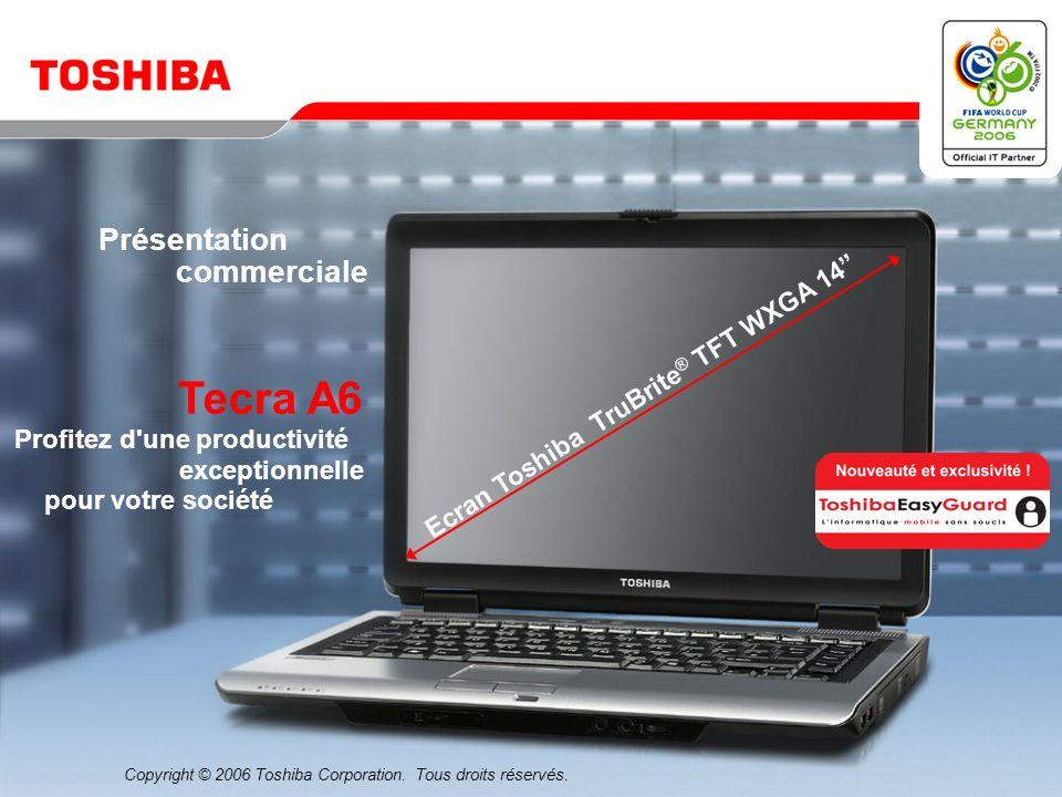 Mars 200631/Tecra A6 Sacoches de transport Trolley PX1196E-1NCA Poignée télescopique intégrée, compartiment pour ordinateur portable verrouillable et rembourré Sacoche modèle haut de gamme PX1182E-1NCA Compartiment extensible pour imprimante, projecteur ou documents Sacoche PX1183E-1NCA Sacoche souple et spacieuse avec cadre métallique renforcé Etui en cuir PX1186E-1NCA Compartiment pour ordinateur portable avec protection des connexions de l ordinateur portable * * Incompatible avec Toshiba Satellite A40 ** Incompatible avec Toshiba Satellite A40, A100 et Tecra S3 1) Sac à dos PX1184E-1NCA Brettelles confortables et rembourrage arrière * 1) 2) 3) 4) 5) 6) 2) Sacoche XXL 17 PX1187E-1NCA 3) 4) Sacoche de transport - Value Edition PX1181E-1NCA Sécurité parfaite grâce au cadre renforcé 5) 6) Housse Premium PX1195E-1NCA Pochette à tirette avec emplacements pour stylos, cartes de visite et téléphone portable 12 Sacoche de grande tailleavec bandoulière Malette compacte PX1185E-1NCA Sécurité parfaite grâce au cadre renforcé et à l enveloppe EVA **