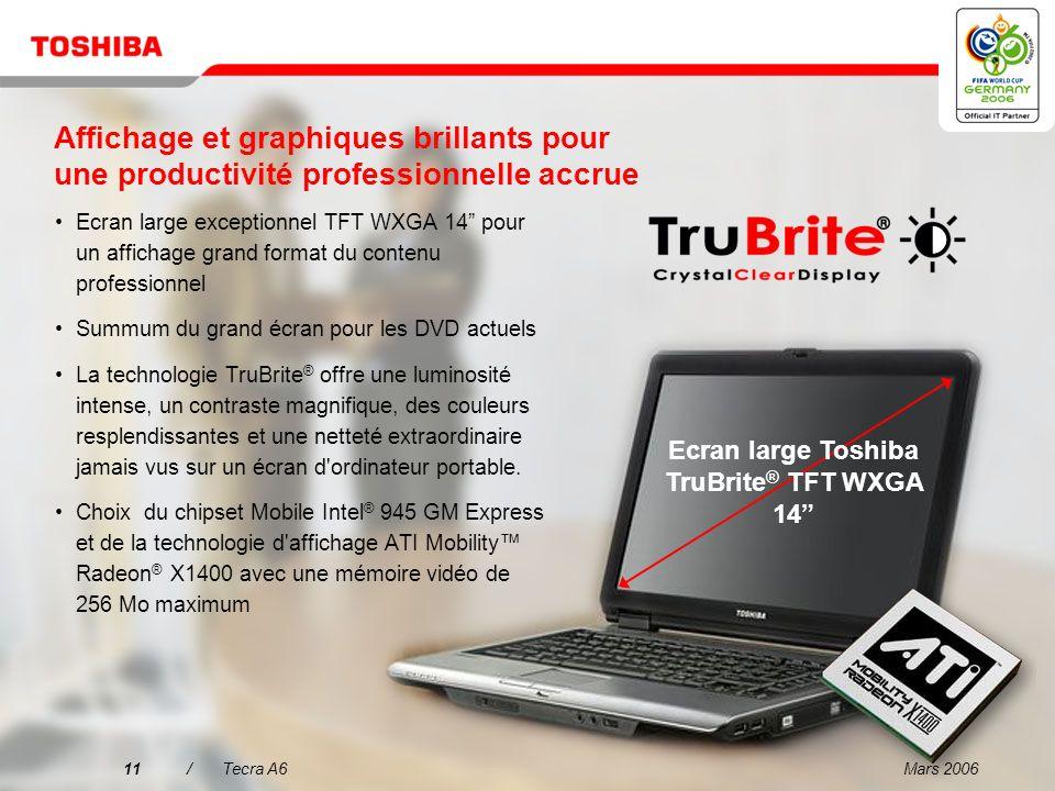 Mars 200610/Tecra A6 Pourquoi choisir le Tecra A6 ? 1 2 3 4 5 L'ordinateur portable idéal pour les professionnels exigeants 14 WXGA Affichage et graph
