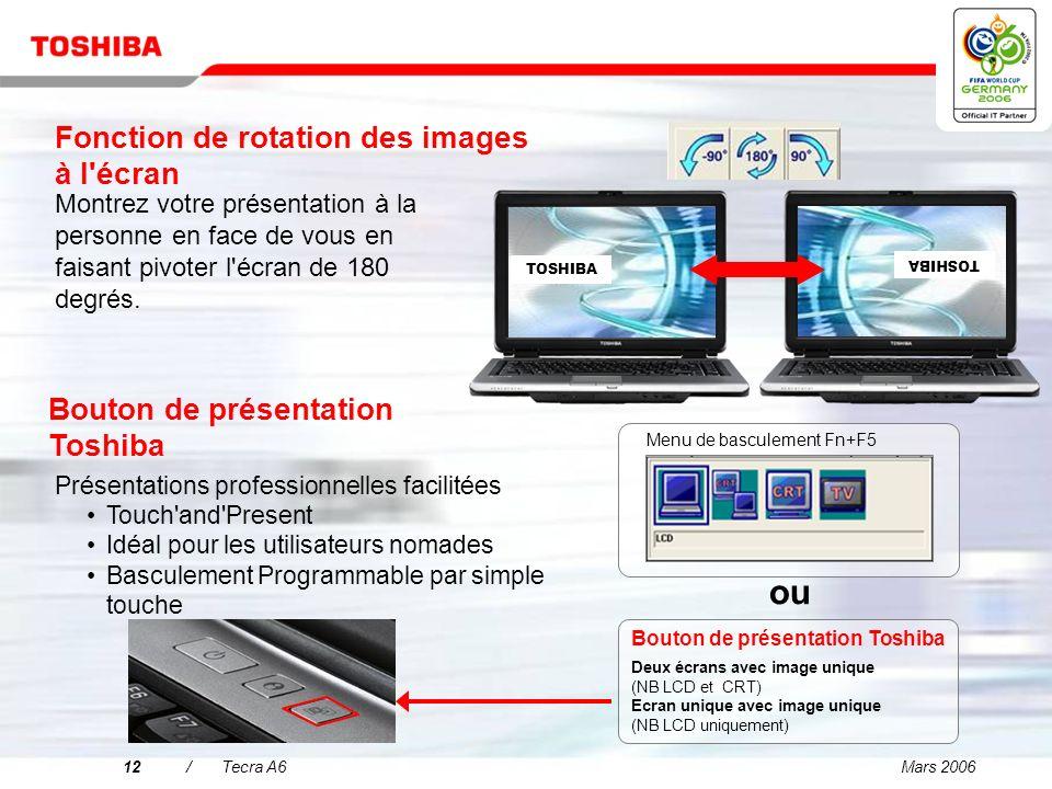 Mars 200611/Tecra A6 Affichage et graphiques brillants pour une productivité professionnelle accrue Ecran large exceptionnel TFT WXGA 14 pour un affic