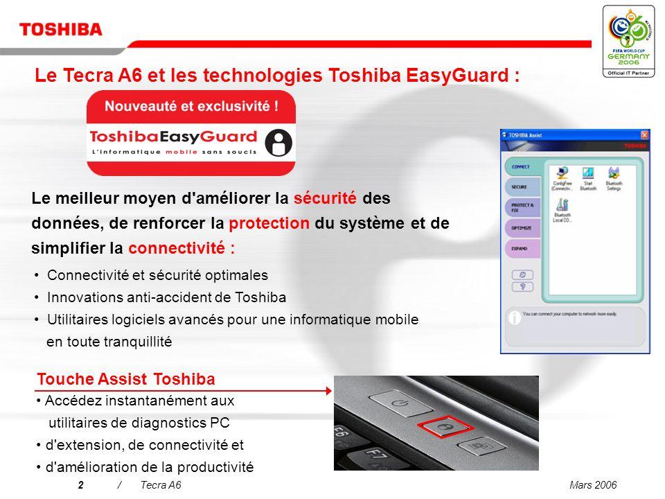 Mars 20062/Tecra A6 Le meilleur moyen d améliorer la sécurité des données, de renforcer la protection du système et de simplifier la connectivité : Touche Assist Toshiba Accédez instantanément aux utilitaires de diagnostics PC d extension, de connectivité et d amélioration de la productivité Connectivité et sécurité optimales Innovations anti-accident de Toshiba Utilitaires logiciels avancés pour une informatique mobile en toute tranquillité Le Tecra A6 et les technologies Toshiba EasyGuard :
