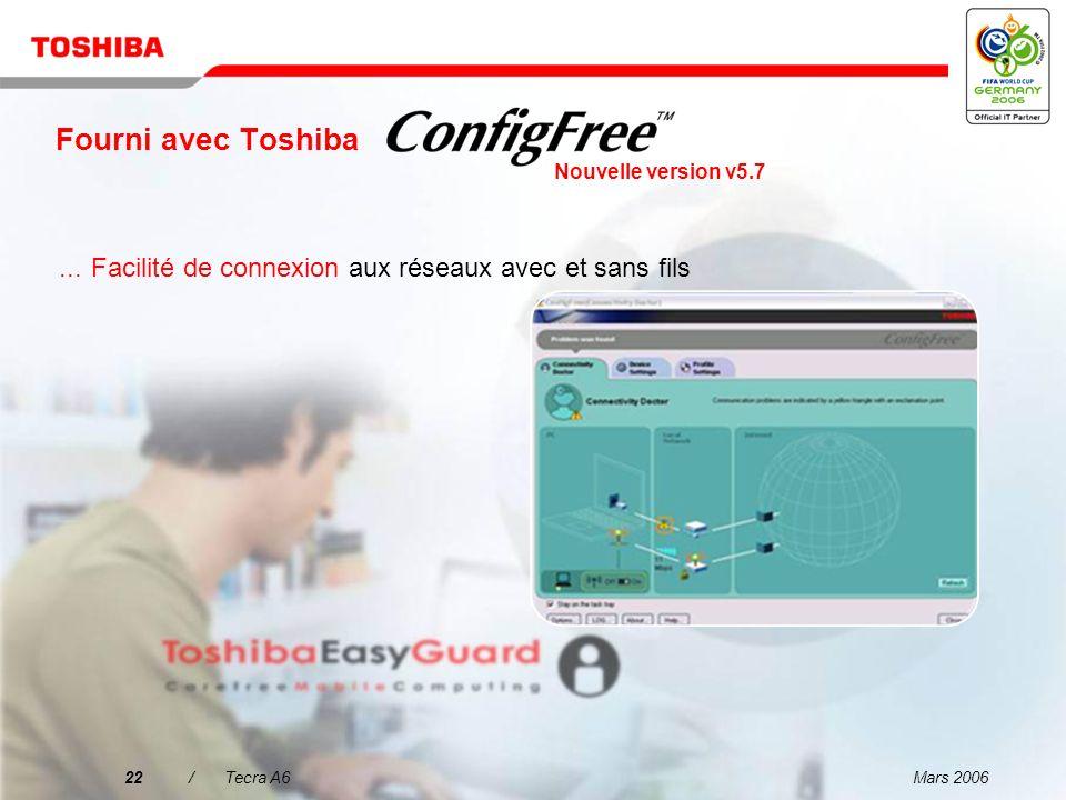 Mars 200621/Tecra A6 Fourni avec Toshiba...Facilité de recherche des réseaux LAN sans fil à l'aide d'une interface intuitive Nouvelle version v5.7
