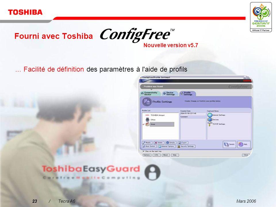 Mars 200622/Tecra A6 Fourni avec Toshiba...Facilité de connexion aux réseaux avec et sans fils Nouvelle version v5.7
