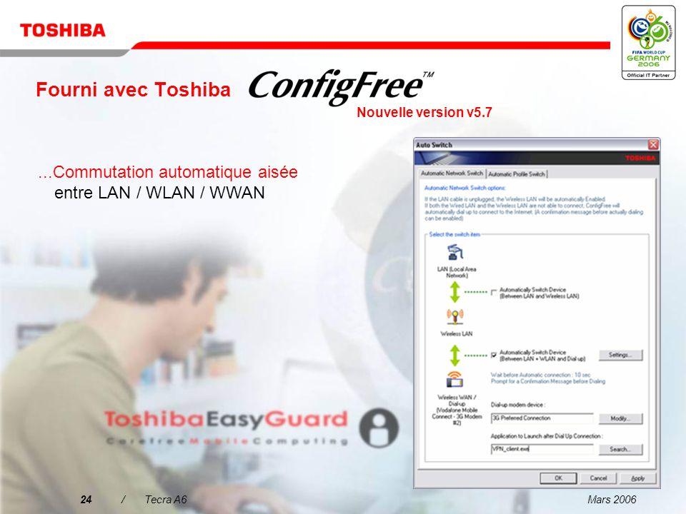 Mars 200623/Tecra A6 Fourni avec Toshiba...Facilité de définition des paramètres à l'aide de profils Nouvelle version v5.7