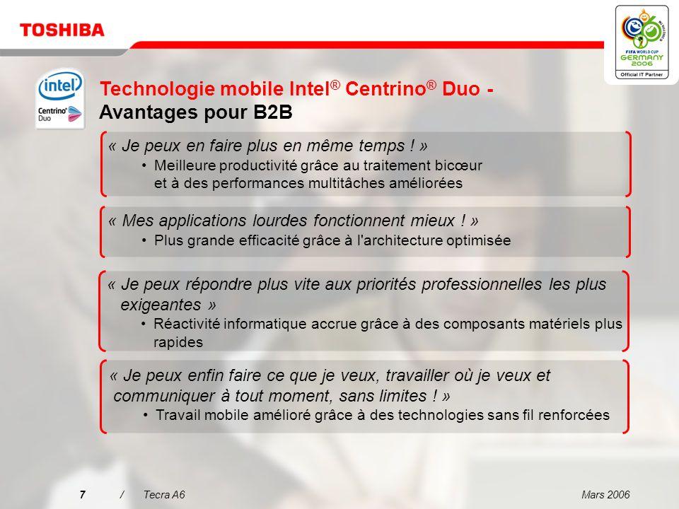 Mars 20067/Tecra A6 Technologie mobile Intel ® Centrino ® Duo - Avantages pour B2B « Je peux en faire plus en même temps .