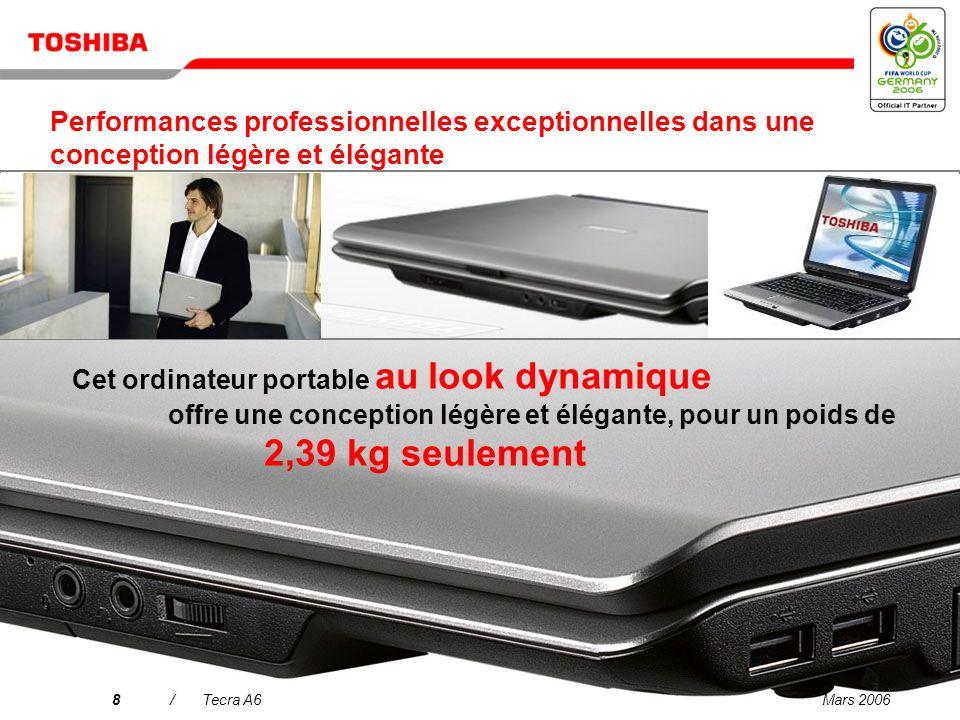 Mars 20068/Tecra A6 Cet ordinateur portable au look dynamique offre une conception légère et élégante, pour un poids de 2,39 kg seulement Performances professionnelles exceptionnelles dans une conception légère et élégante