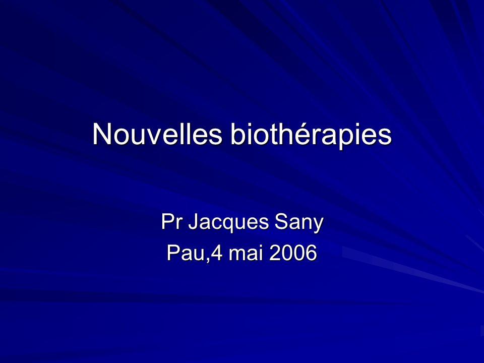 Anticorps monoclonal anti-IL6 Anticorps monoclonal humanisé anti-récepteur de lIL6 (MRA):tocilizumab Étude multicentrique,double aveugle,164 PR atteints de PR réfractaires,3 groupes:placebo,MRA 4mg/kg,8mg/kg en perfusion IV:J1,J30,J60 Résultats favorables Nishimoto et al,Arthritis Rheum,2004,50,1761