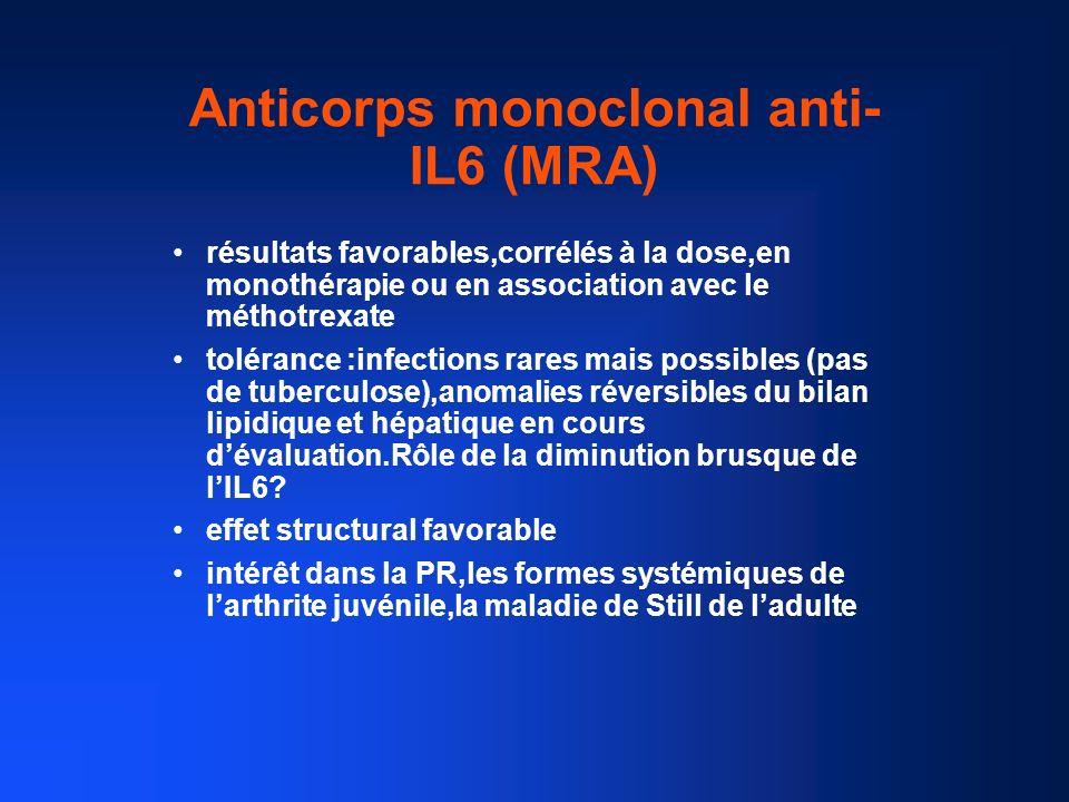 Anticorps monoclonal anti- IL6 (MRA) résultats favorables,corrélés à la dose,en monothérapie ou en association avec le méthotrexate tolérance :infecti