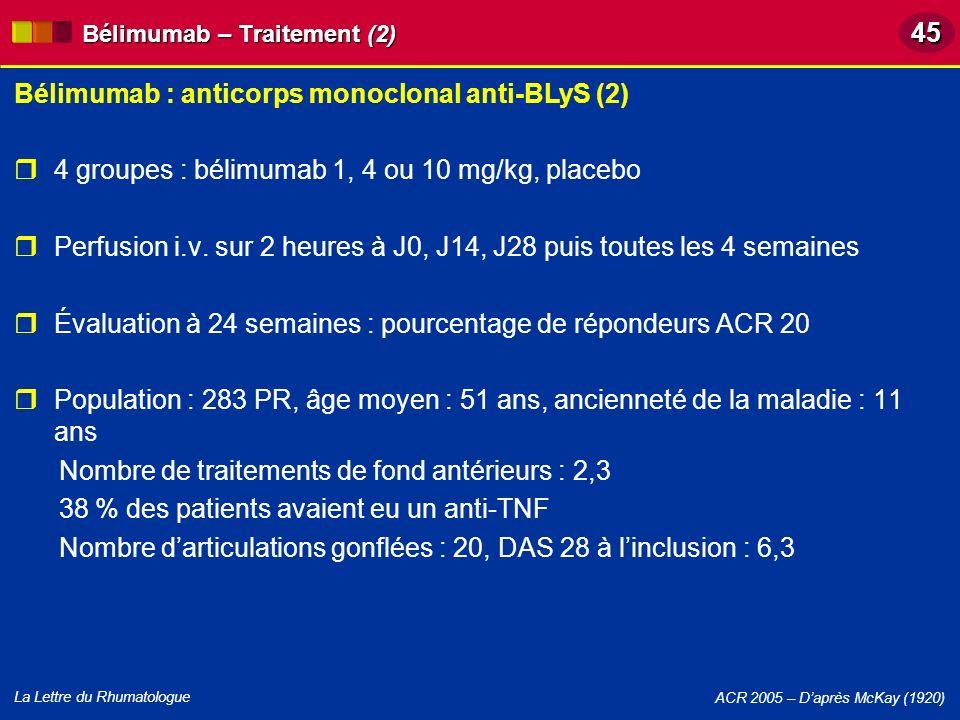 La Lettre du Rhumatologue 4 groupes : bélimumab 1, 4 ou 10 mg/kg, placebo Perfusion i.v. sur 2 heures à J0, J14, J28 puis toutes les 4 semaines Évalua
