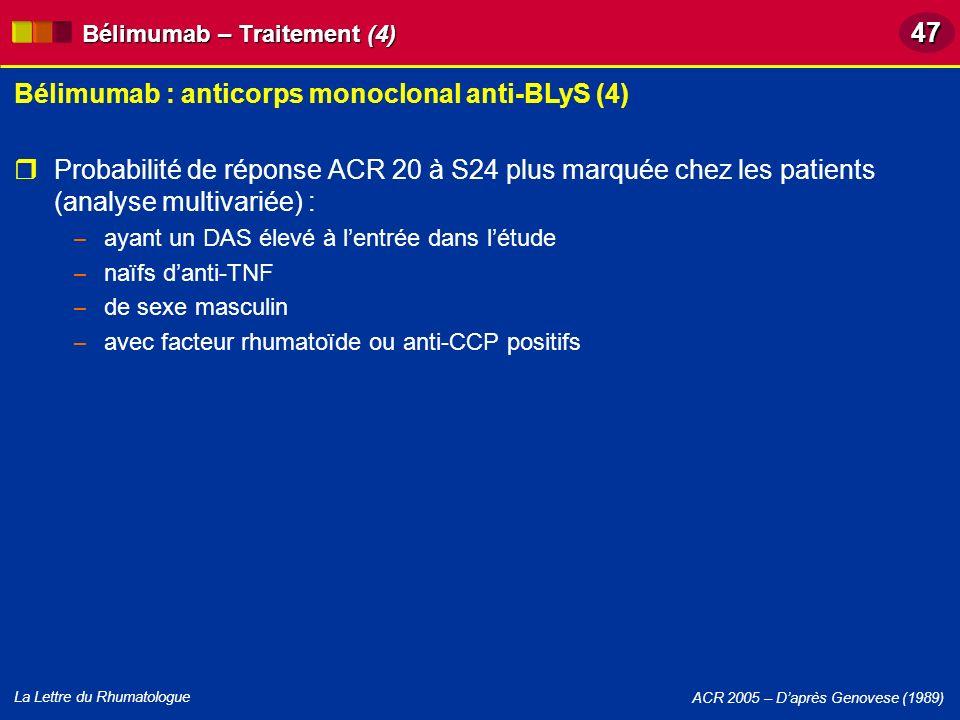 La Lettre du Rhumatologue Bélimumab : anticorps monoclonal anti-BLyS (4) ACR 2005 – Daprès Genovese (1989) Bélimumab – Traitement (4) Probabilité de r