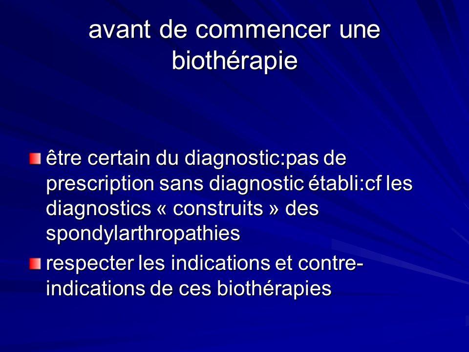 avant de commencer une biothérapie être certain du diagnostic:pas de prescription sans diagnostic établi:cf les diagnostics « construits » des spondyl