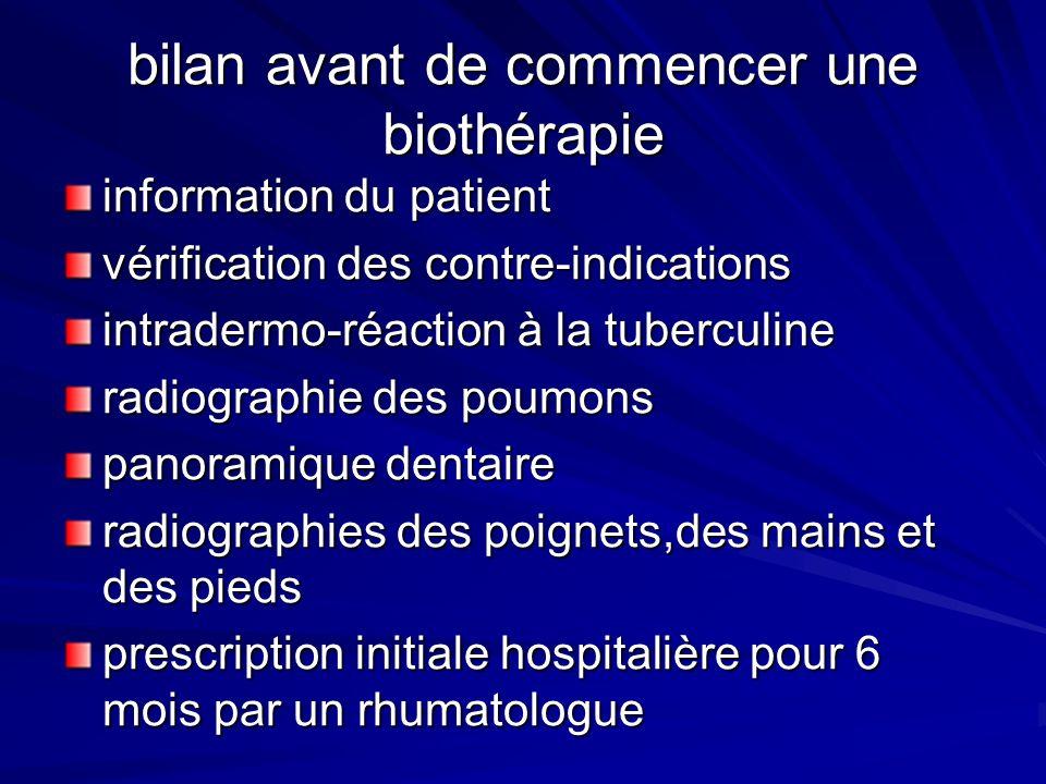 bilan avant de commencer une biothérapie information du patient vérification des contre-indications intradermo-réaction à la tuberculine radiographie
