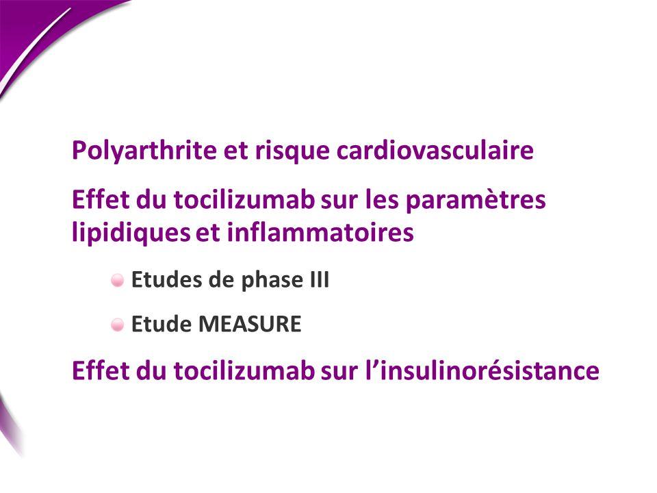 Polyarthrite et risque cardiovasculaire Effet du tocilizumab sur les paramètres lipidiques et inflammatoires Etudes de phase III Etude MEASURE Effet d