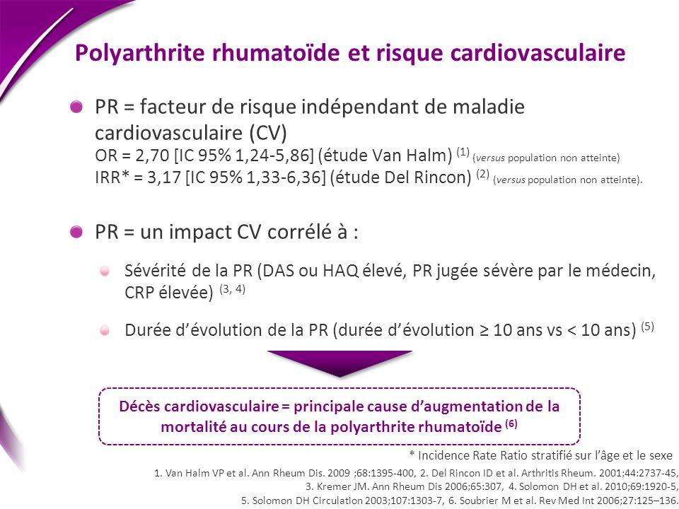 Polyarthrite rhumatoïde et risque cardiovasculaire PR = facteur de risque indépendant de maladie cardiovasculaire (CV) OR = 2,70 [IC 95% 1,24-5,86] (é