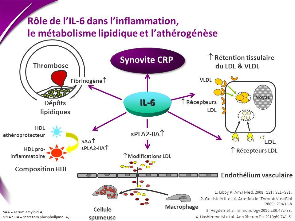 Rôle de lIL-6 dans linflammation, le métabolisme lipidique et lathérogénèse Dépôts lipidiques Thrombose Récepteurs LDL Synovite CRP Endothélium vascul