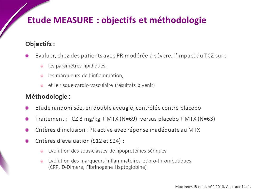 Etude MEASURE : objectifs et méthodologie Objectifs : Evaluer, chez des patients avec PR modérée à sévère, limpact du TCZ sur : les paramètres lipidiq