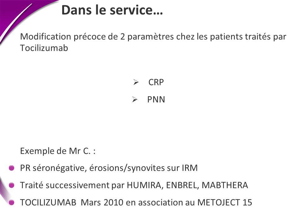 Dans le service… Modification précoce de 2 paramètres chez les patients traités par Tocilizumab CRP PNN Exemple de Mr C. : PR séronégative, érosions/s