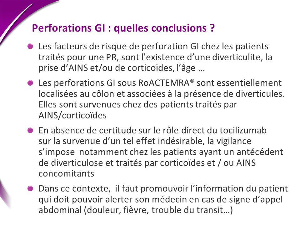 Perforations GI : quelles conclusions ? Les facteurs de risque de perforation GI chez les patients traités pour une PR, sont lexistence dune diverticu