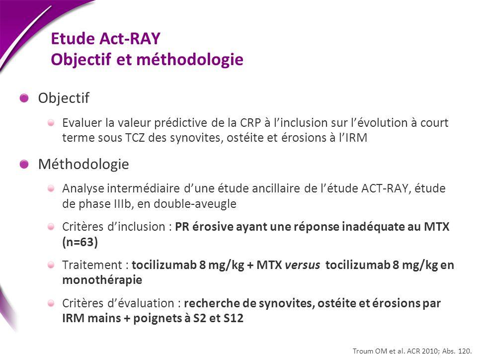 Etude Act-RAY Objectif et méthodologie Objectif Evaluer la valeur prédictive de la CRP à linclusion sur lévolution à court terme sous TCZ des synovite