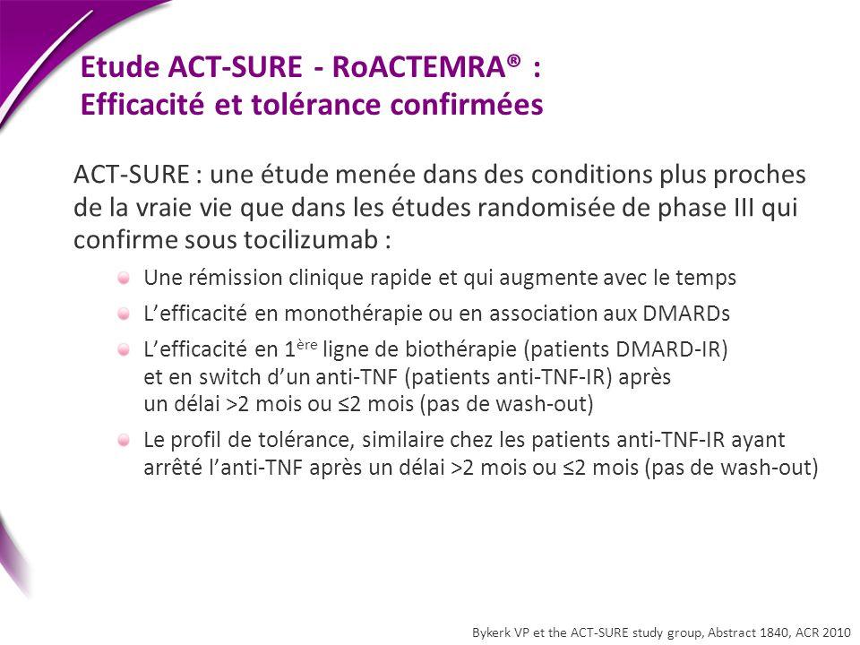 Etude ACT-SURE - RoACTEMRA® : Efficacité et tolérance confirmées ACT-SURE : une étude menée dans des conditions plus proches de la vraie vie que dans