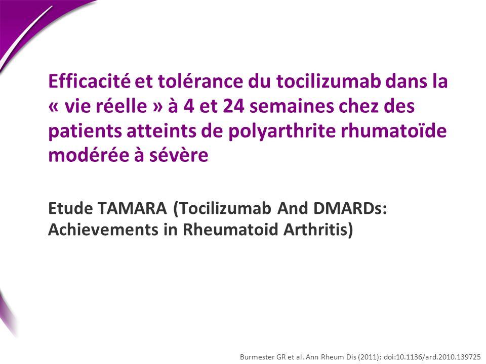Efficacité et tolérance du tocilizumab dans la « vie réelle » à 4 et 24 semaines chez des patients atteints de polyarthrite rhumatoïde modérée à sévèr