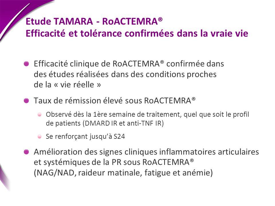 Etude TAMARA - RoACTEMRA® Efficacité et tolérance confirmées dans la vraie vie Efficacité clinique de RoACTEMRA® confirmée dans des études réalisées d