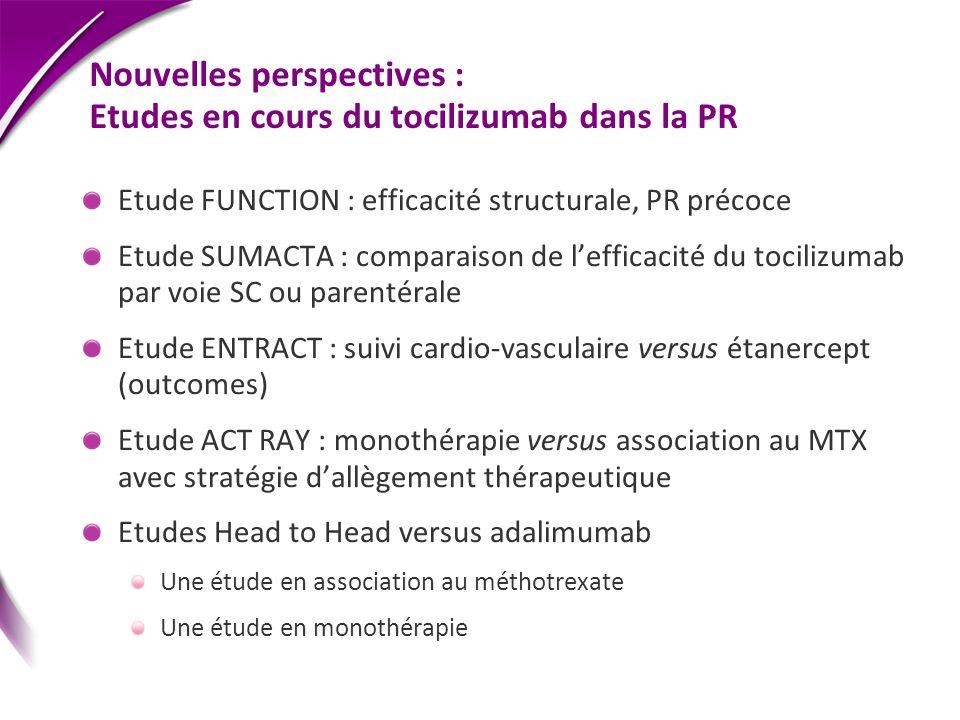 Nouvelles perspectives : Etudes en cours du tocilizumab dans la PR Etude FUNCTION : efficacité structurale, PR précoce Etude SUMACTA : comparaison de