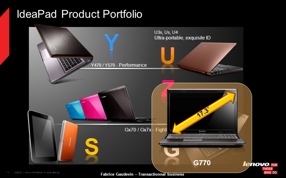 13 © 2011 Lenovo Confidential. All rights reserved. Fabrice Gaudevin – Transactionnal business IdeaPad Product Portfolio Y470 / Y570 - Performance U