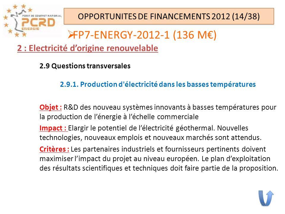 2 : Electricité dorigine renouvelable 2.9 Questions transversales 2.9.1. Production d'électricité dans les basses températures Objet : R&D des nouveau
