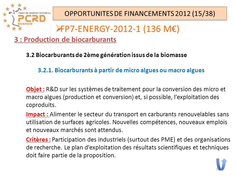 3 : Production de biocarburants 3.2 Biocarburants de 2ème génération issus de la biomasse 3.2.1. Biocarburants à partir de micro algues ou macro algue