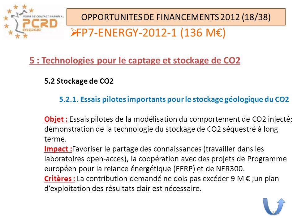 OPPORTUNITES DE FINANCEMENTS 2012 (18/38) 5 : Technologies pour le captage et stockage de CO2 5.2 Stockage de CO2 5.2.1. Essais pilotes importants pou