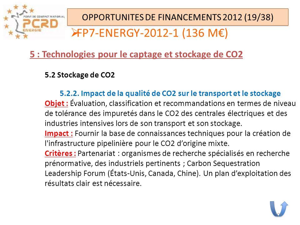 OPPORTUNITES DE FINANCEMENTS 2012 (19/38) 5 : Technologies pour le captage et stockage de CO2 5.2 Stockage de CO2 5.2.2. Impact de la qualité de CO2 s