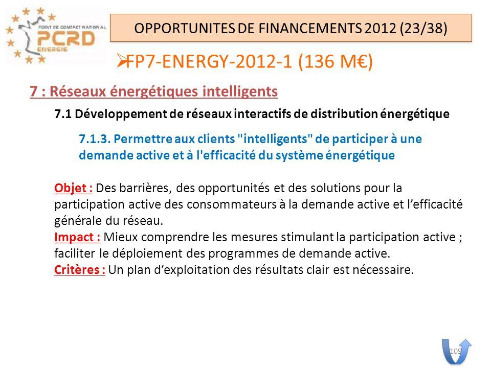7 : Réseaux énergétiques intelligents 7.1 Développement de réseaux interactifs de distribution énergétique 7.1.3. Permettre aux clients