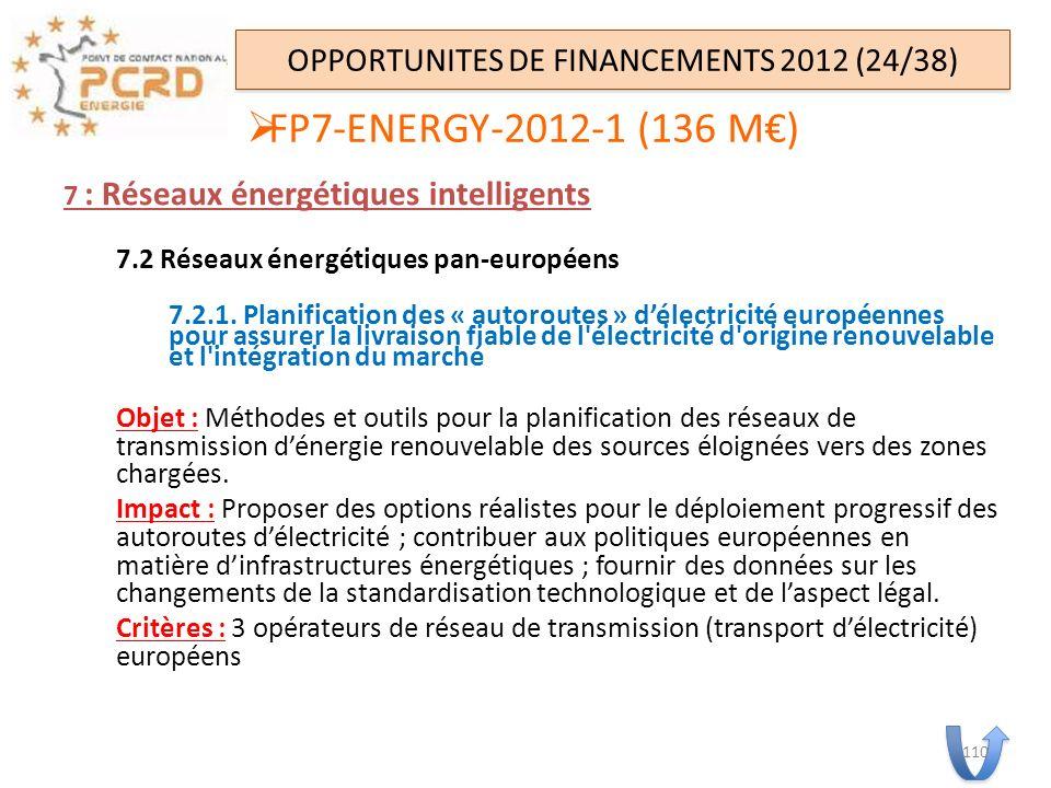 7 : Réseaux énergétiques intelligents 7.2 Réseaux énergétiques pan-européens 7.2.1. Planification des « autoroutes » délectricité européennes pour ass