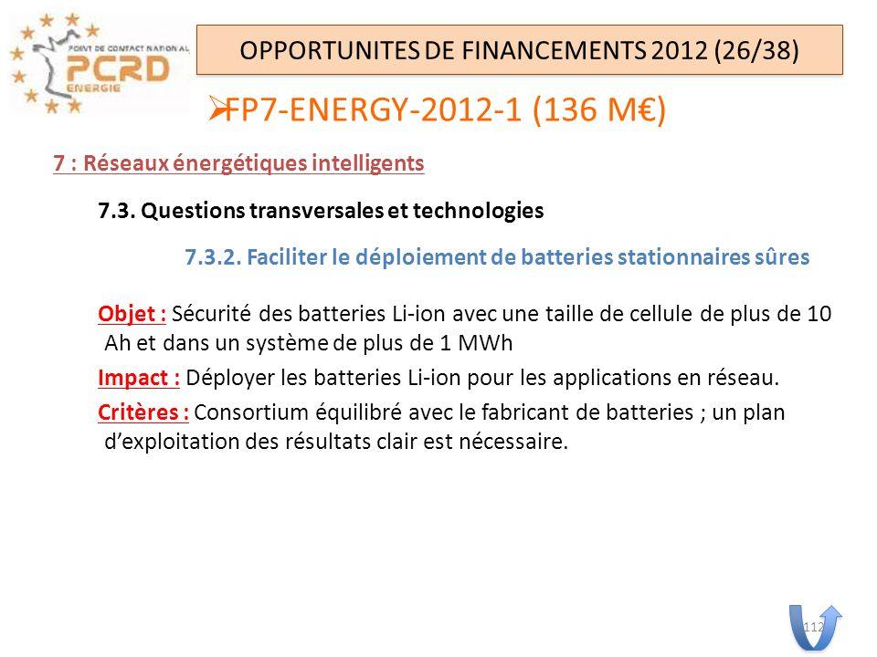 7 : Réseaux énergétiques intelligents 7.3. Questions transversales et technologies 7.3.2. Faciliter le déploiement de batteries stationnaires sûres Ob