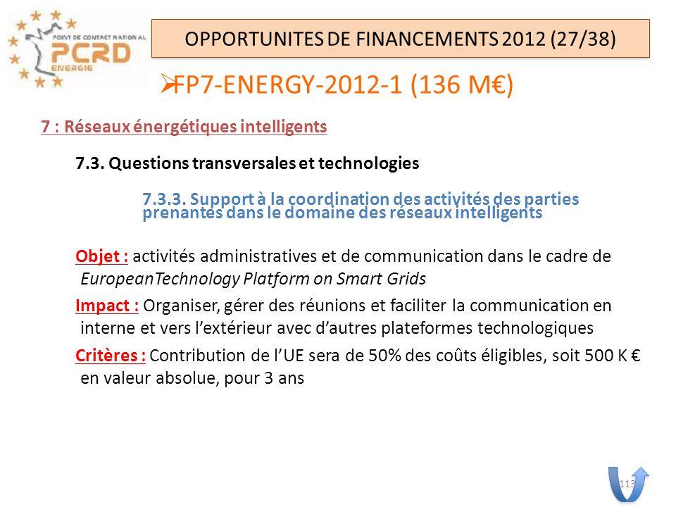 7 : Réseaux énergétiques intelligents 7.3. Questions transversales et technologies 7.3.3. Support à la coordination des activités des parties prenante